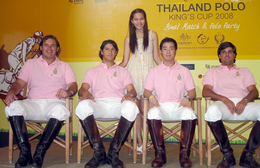 Miss Thailand Universe with the Thailand King's Cup Polo Team.