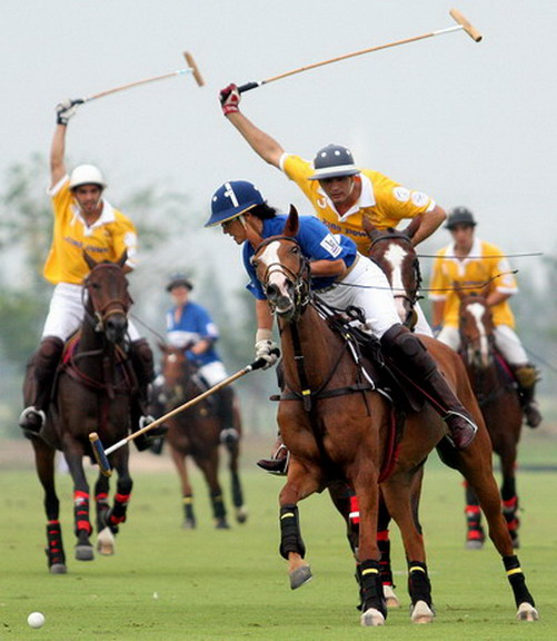 Tacos in the air -- Fearsome Yellow bearing down on Khun Robin of Polo Escape