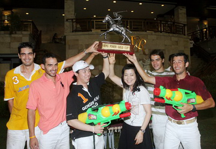 Previous Songkran Cup Recipients -- Pepperoni and Daniel -- join Khun Top, Joaquin, Bruno winning King Power Gold Cup