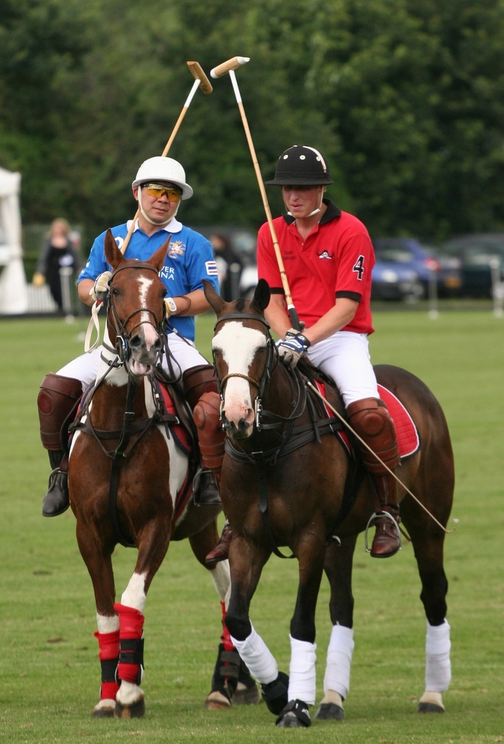 Khun Vichai with Prince William at Ham Polo Club
