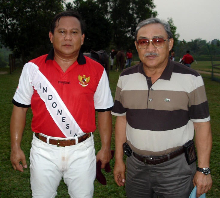 "Prabowo after chukkas with ""Pehin Datu,"" H.E. Ambassador Hussein, The Brunei Ambassador to Indonesia -- a former polo player himself."