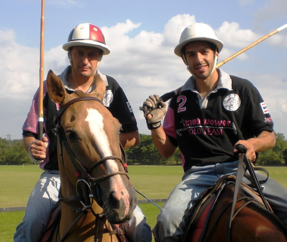 Facundo with Pepperoni -- on the polo field in England.