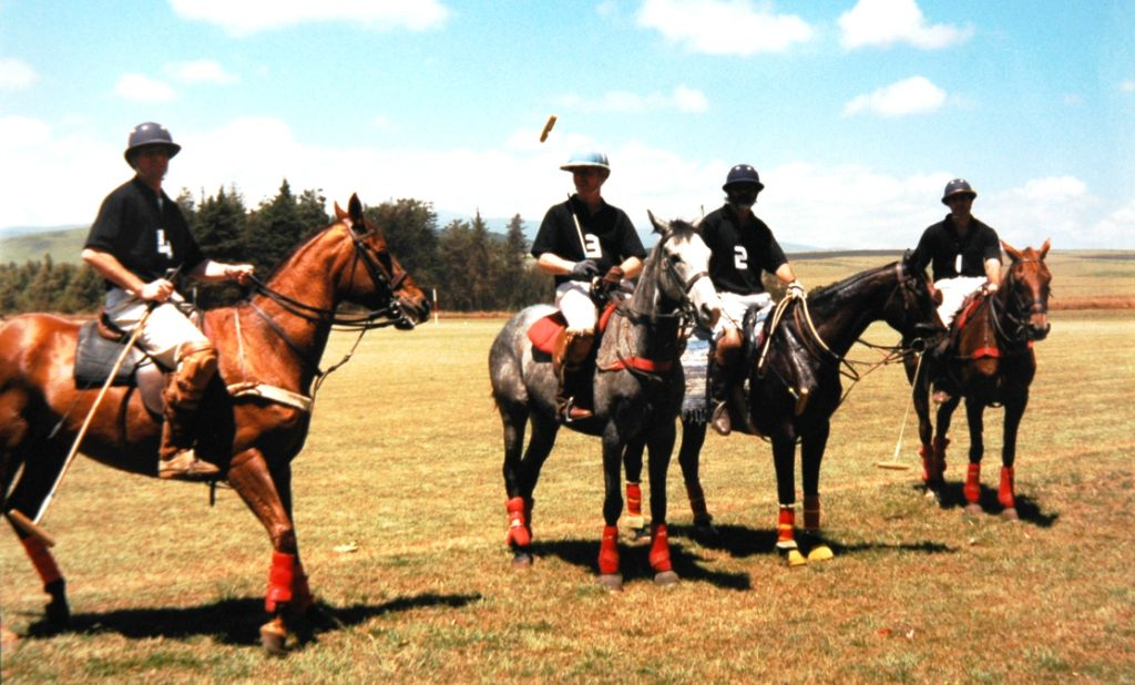 Brian Perry and his team at the 1993 Mugs Mug tournament in Timau, North Kenya Polo Club